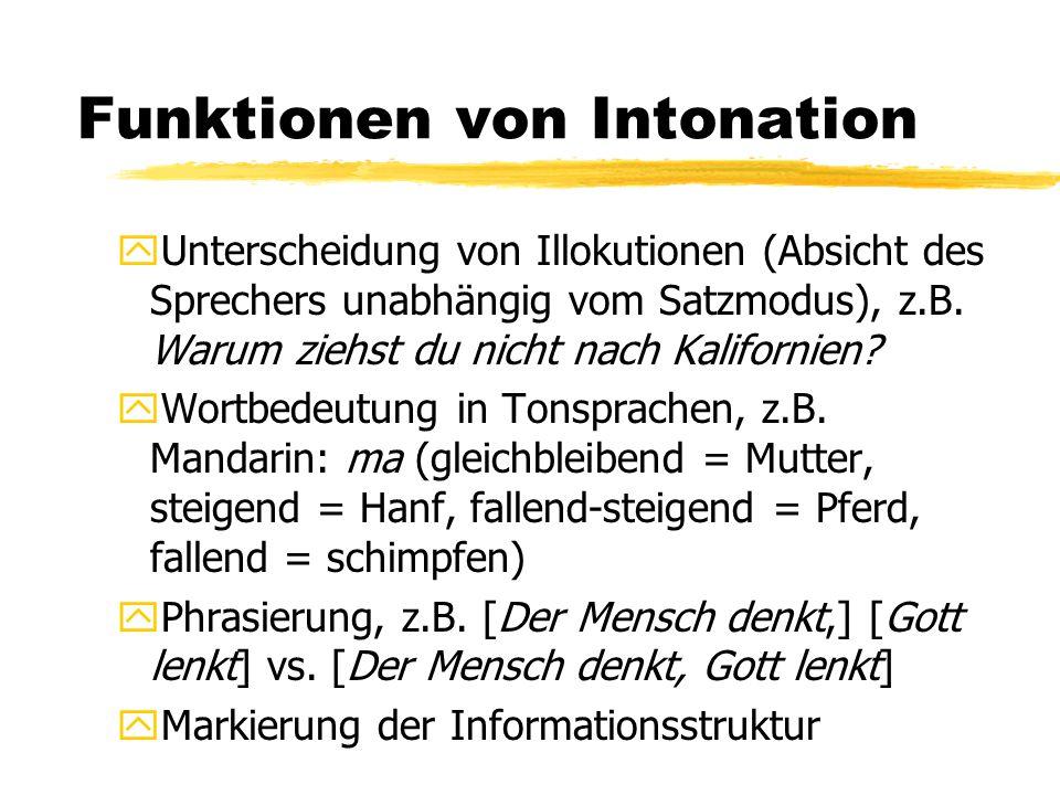 Funktionen von Intonation yUnterscheidung von Illokutionen (Absicht des Sprechers unabhängig vom Satzmodus), z.B. Warum ziehst du nicht nach Kaliforni