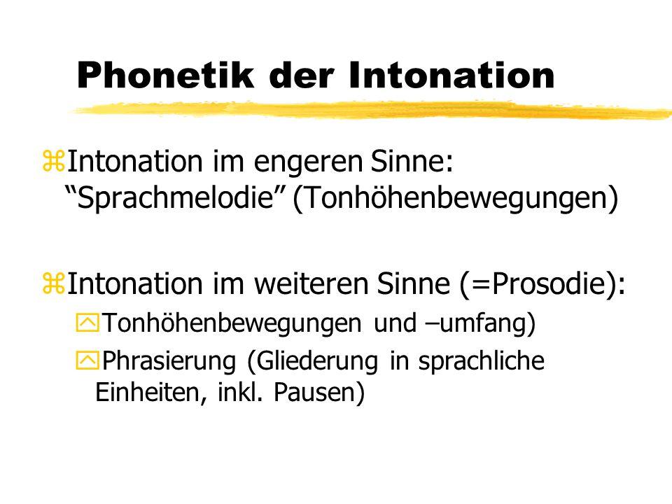Phonetik der Intonation yAkzentsetzung (Hervorhebungen auf Äußerungsebene) yWortbetonung (Hervorhebungen auf Wortebene) yRhythmus (Verhältnis von prominenten und nicht-prominenten Silben) yTempo (Sprechgeschwindigkeit)