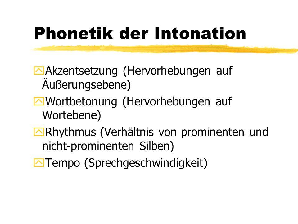 Phonetik der Intonation yAkzentsetzung (Hervorhebungen auf Äußerungsebene) yWortbetonung (Hervorhebungen auf Wortebene) yRhythmus (Verhältnis von prom