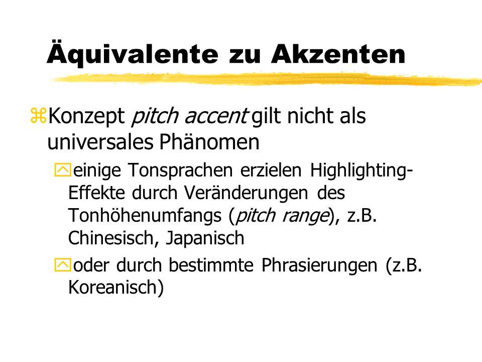 Äquivalente zu Akzenten zKonzept pitch accent gilt nicht als universales Phänomen yeinige Tonsprachen erzielen Highlighting- Effekte durch Veränderung