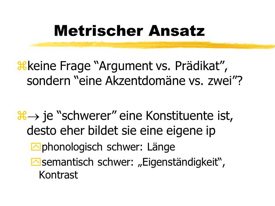"""Metrischer Ansatz zkeine Frage """"Argument vs. Prädikat"""", sondern """"eine Akzentdomäne vs. zwei""""? z  je """"schwerer"""" eine Konstituente ist, desto eher bild"""