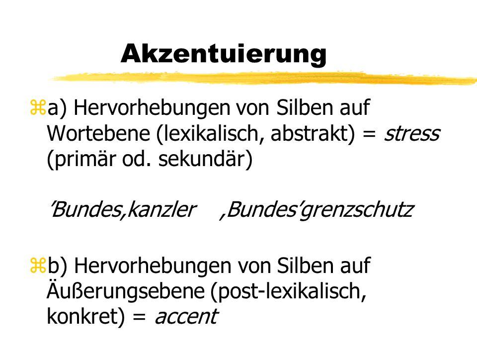 Akzentuierung za) Hervorhebungen von Silben auf Wortebene (lexikalisch, abstrakt) = stress (primär od. sekundär) 'Bundes,kanzler,Bundes'grenzschutz zb