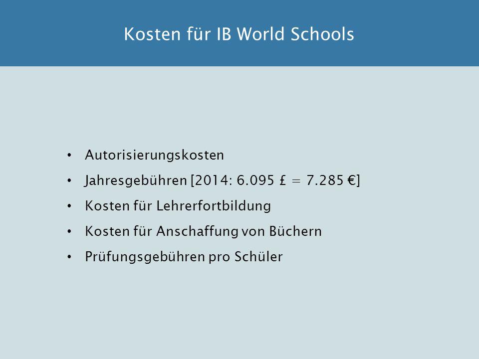 Autorisierungskosten Jahresgebühren [2014: 6.095 £ = 7.285 €] Kosten für Lehrerfortbildung Kosten für Anschaffung von Büchern Prüfungsgebühren pro Sch