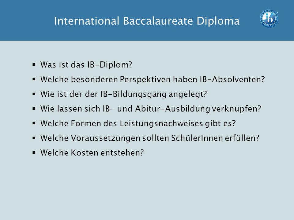  Was ist das IB-Diplom?  Welche besonderen Perspektiven haben IB-Absolventen?  Wie ist der der IB-Bildungsgang angelegt?  Wie lassen sich IB- und