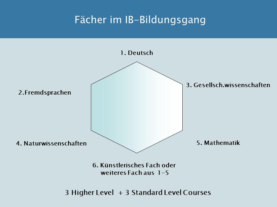 Fächer im IB-Bildungsgang 1. Deutsch 2.Fremdsprachen 3. Gesellsch.wissenschaften 4. Naturwissenschaften 5. Mathematik 6. Künstlerisches Fach oder weit