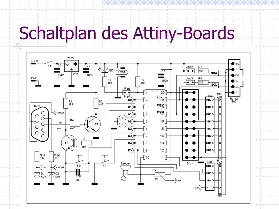 Schaltplan des Attiny-Boards