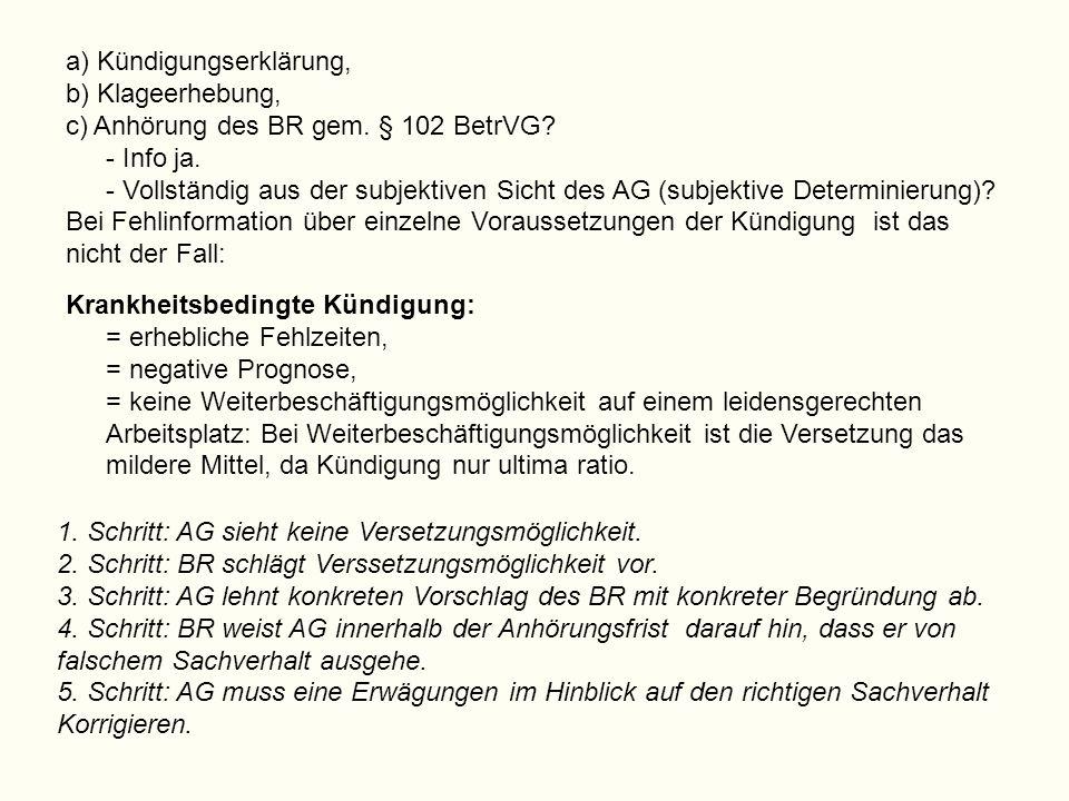 a) Kündigungserklärung, b) Klageerhebung, c) Anhörung des BR gem. § 102 BetrVG? - Info ja. - Vollständig aus der subjektiven Sicht des AG (subjektive