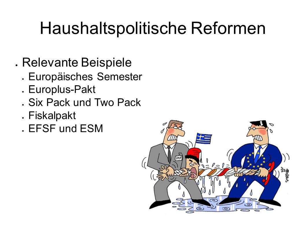 Haushaltspolitische Reformen Relevante Beispiele Europäisches Semester Europlus-Pakt Six Pack und Two Pack Fiskalpakt EFSF und ESM