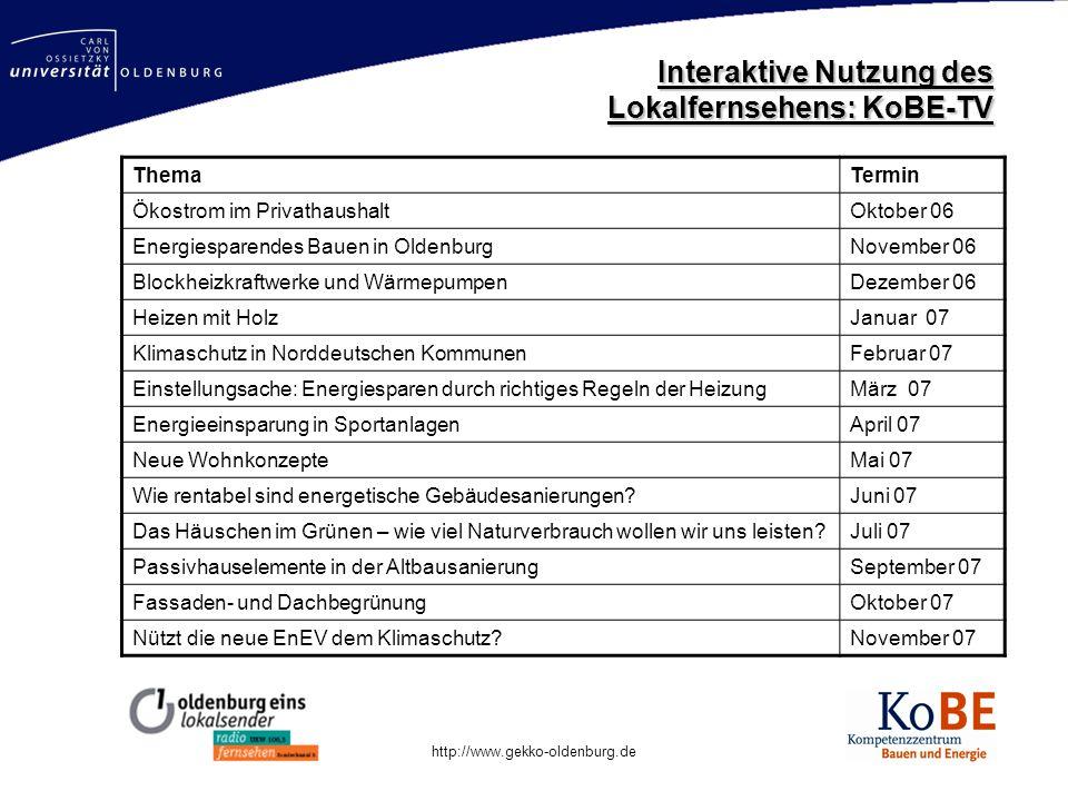 Mastertitelformat bearbeiten http://www.gekko-oldenburg.de ThemaTermin Ökostrom im PrivathaushaltOktober 06 Energiesparendes Bauen in OldenburgNovembe