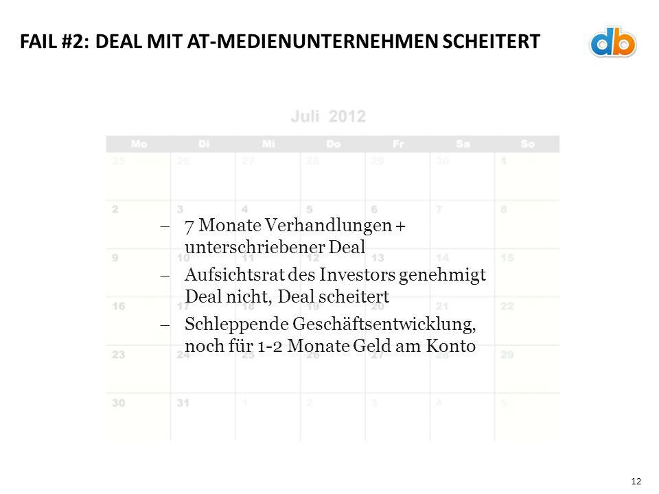 12 FAIL #2: DEAL MIT AT-MEDIENUNTERNEHMEN SCHEITERT  7 Monate Verhandlungen + unterschriebener Deal  Aufsichtsrat des Investors genehmigt Deal nicht, Deal scheitert  Schleppende Geschäftsentwicklung, noch für 1-2 Monate Geld am Konto