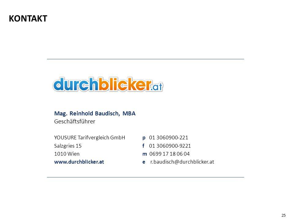 Mag. Reinhold Baudisch, MBA Geschäftsführer YOUSURE Tarifvergleich GmbH p 01 3060900-221 Salzgries 15 f 01 3060900-9221 1010 Wien m 0699 17 18 06 04 w