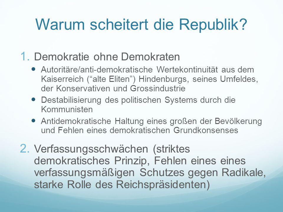 """Warum scheitert die Republik? 1. Demokratie ohne Demokraten Autoritäre/anti-demokratische Wertekontinuität aus dem Kaiserreich (""""alte Eliten"""") Hindenb"""