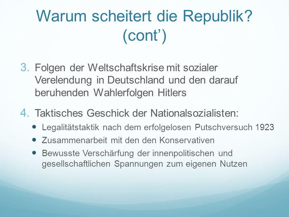 Warum scheitert die Republik? (cont') 3. Folgen der Weltschaftskrise mit sozialer Verelendung in Deutschland und den darauf beruhenden Wahlerfolgen Hi