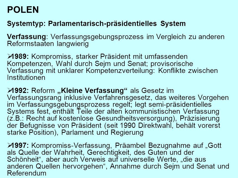POLEN Systemtyp: Parlamentarisch-präsidentielles System Verfassung: Verfassungsgebungsprozess im Vergleich zu anderen Reformstaaten langwierig  1989:
