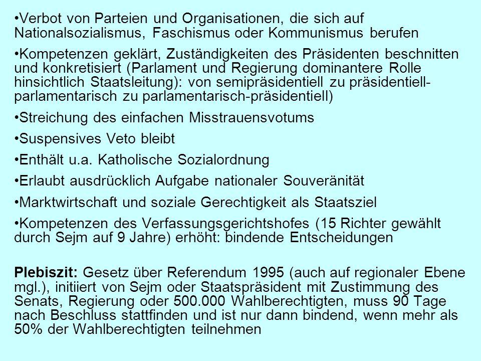 Verbot von Parteien und Organisationen, die sich auf Nationalsozialismus, Faschismus oder Kommunismus berufen Kompetenzen geklärt, Zuständigkeiten des