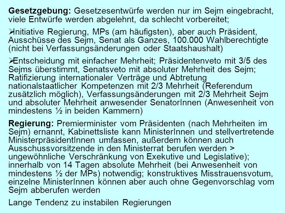 Gesetzgebung: Gesetzesentwürfe werden nur im Sejm eingebracht, viele Entwürfe werden abgelehnt, da schlecht vorbereitet;  Initiative Regierung, MPs (