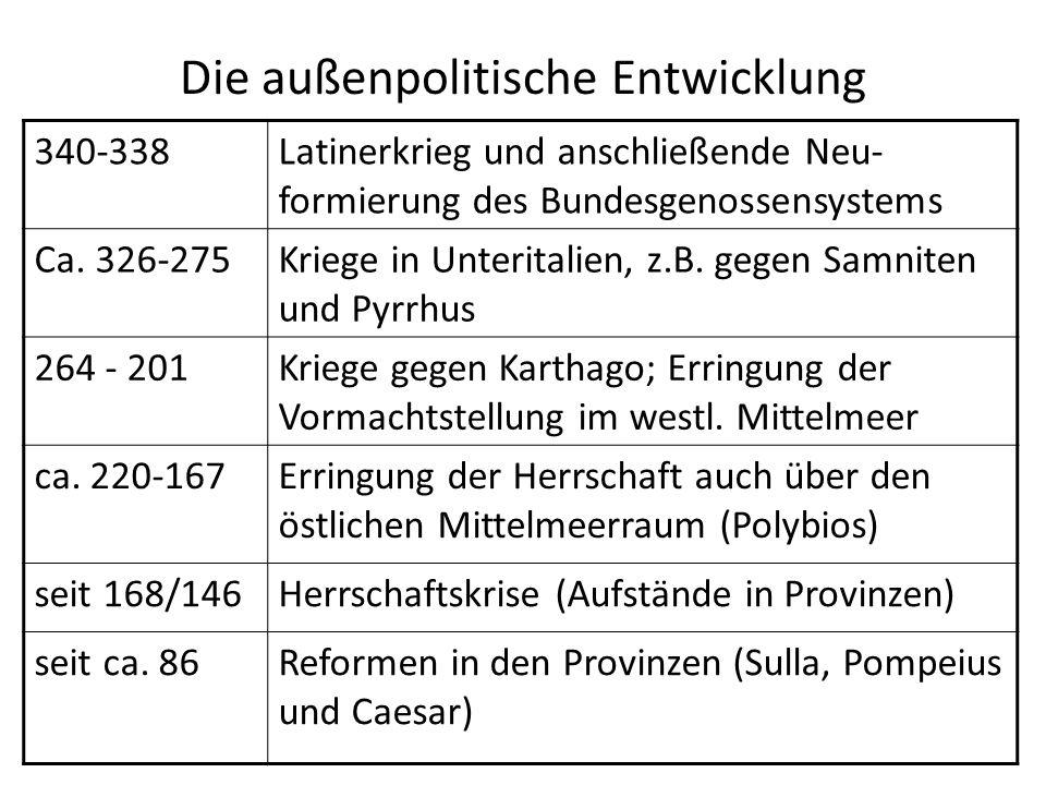 Die außenpolitische Entwicklung 340-338Latinerkrieg und anschließende Neu- formierung des Bundesgenossensystems Ca. 326-275Kriege in Unteritalien, z.B