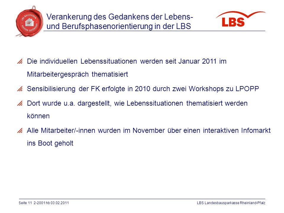 Seite 11 2-2001 hb 03.02.2011LBS Landesbausparkasse Rheinland-Pfalz  Die individuellen Lebenssituationen werden seit Januar 2011 im Mitarbeitergesprä