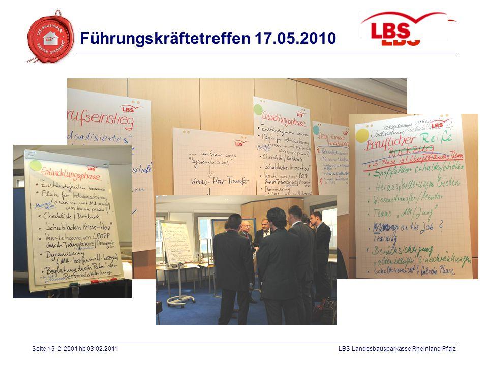 Seite 13 2-2001 hb 03.02.2011LBS Landesbausparkasse Rheinland-Pfalz Führungskräftetreffen 17.05.2010