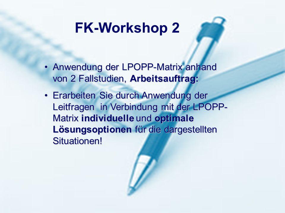 Seite 14 2-2001 hb 03.02.2011LBS Landesbausparkasse Rheinland-Pfalz Anwendung der LPOPP-Matrix anhand von 2 Fallstudien, Arbeitsauftrag:Anwendung der