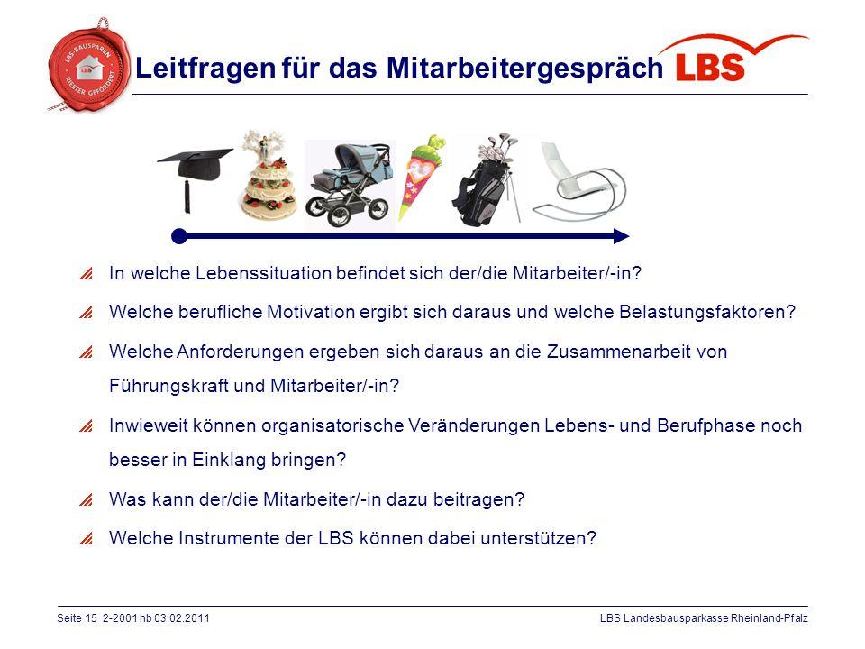 Seite 15 2-2001 hb 03.02.2011LBS Landesbausparkasse Rheinland-Pfalz  In welche Lebenssituation befindet sich der/die Mitarbeiter/-in?  Welche berufl