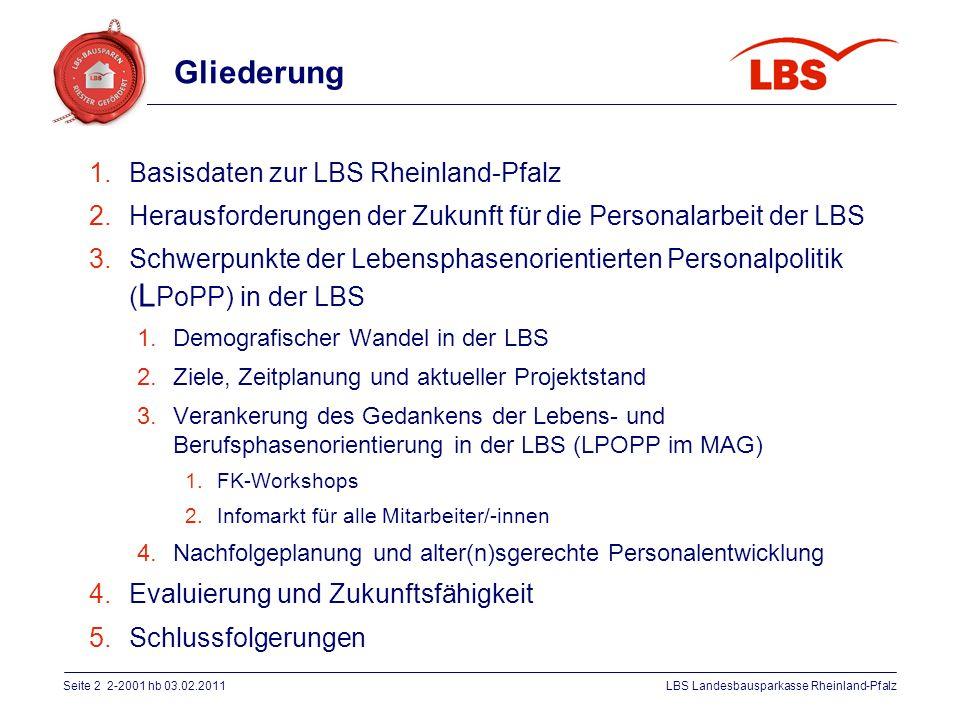 Seite 2 2-2001 hb 03.02.2011LBS Landesbausparkasse Rheinland-Pfalz Gliederung 1.Basisdaten zur LBS Rheinland-Pfalz 2.Herausforderungen der Zukunft für