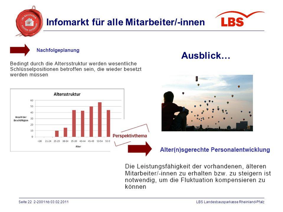 Seite 22 2-2001 hb 03.02.2011LBS Landesbausparkasse Rheinland-Pfalz Ausblick… Infomarkt für alle Mitarbeiter/-innen