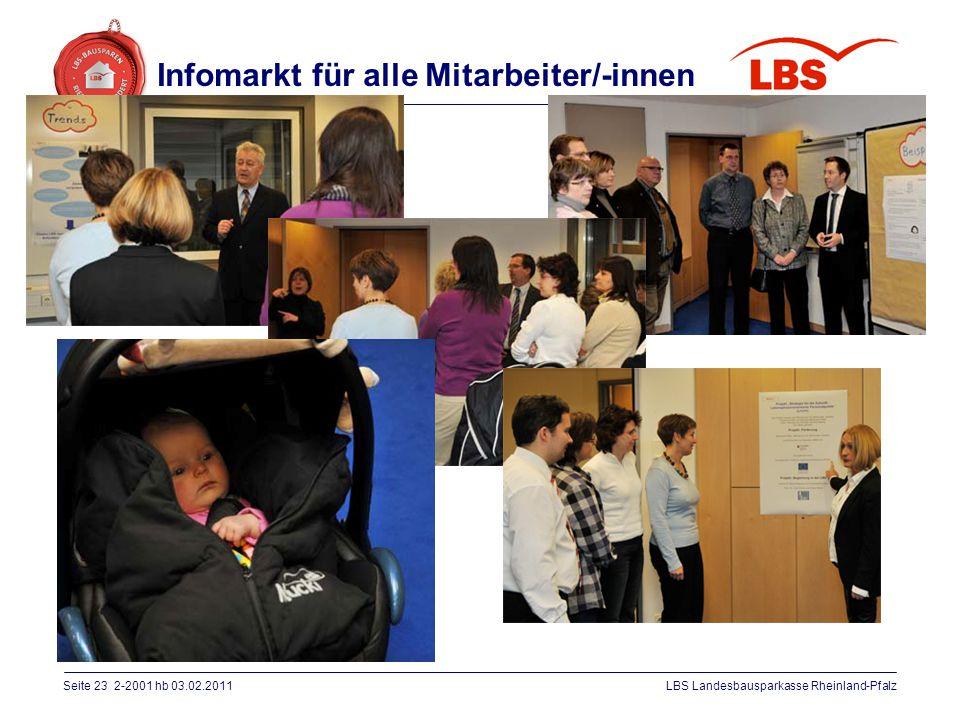 Seite 23 2-2001 hb 03.02.2011LBS Landesbausparkasse Rheinland-Pfalz Infomarkt für alle Mitarbeiter/-innen