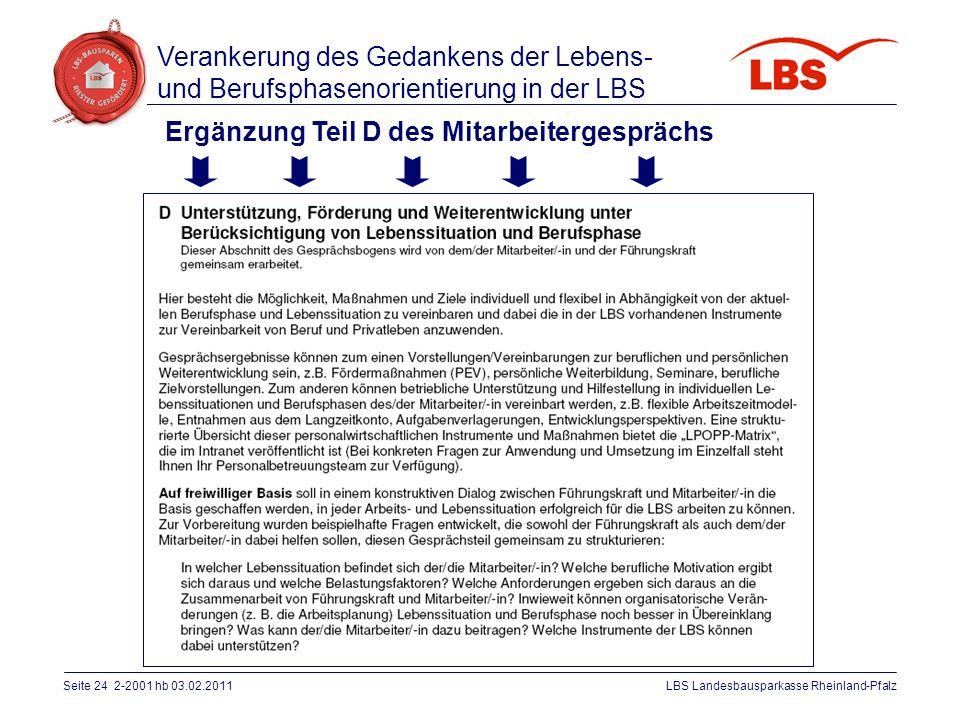Seite 24 2-2001 hb 03.02.2011LBS Landesbausparkasse Rheinland-Pfalz Ergänzung Teil D des Mitarbeitergesprächs Verankerung des Gedankens der Lebens- un