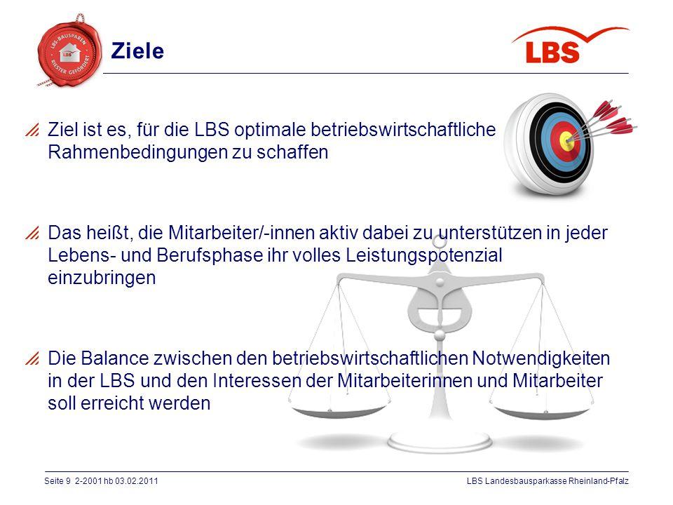 Seite 9 2-2001 hb 03.02.2011LBS Landesbausparkasse Rheinland-Pfalz  Ziel ist es, für die LBS optimale betriebswirtschaftliche Rahmenbedingungen zu sc