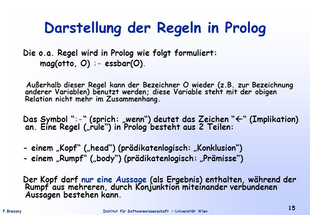Institut für Softwarewissenschaft – Universität WienP.Brezany 15 Darstellung der Regeln in Prolog Die o.a.