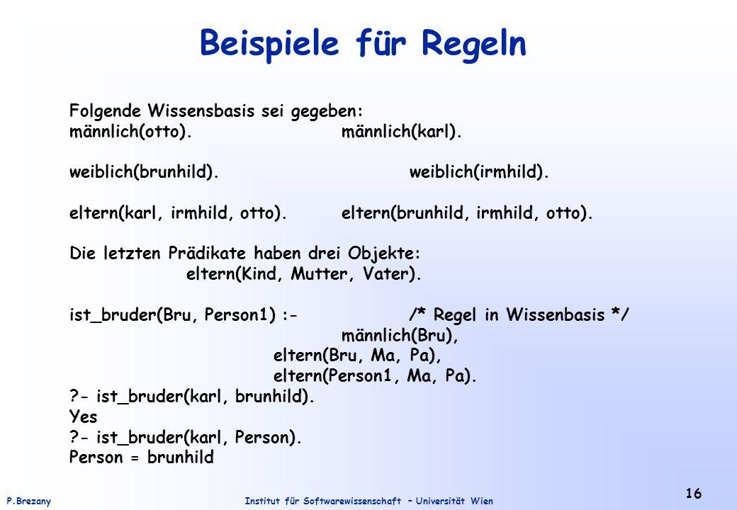 Institut für Softwarewissenschaft – Universität WienP.Brezany 16 Beispiele für Regeln Folgende Wissensbasis sei gegeben: männlich(otto).