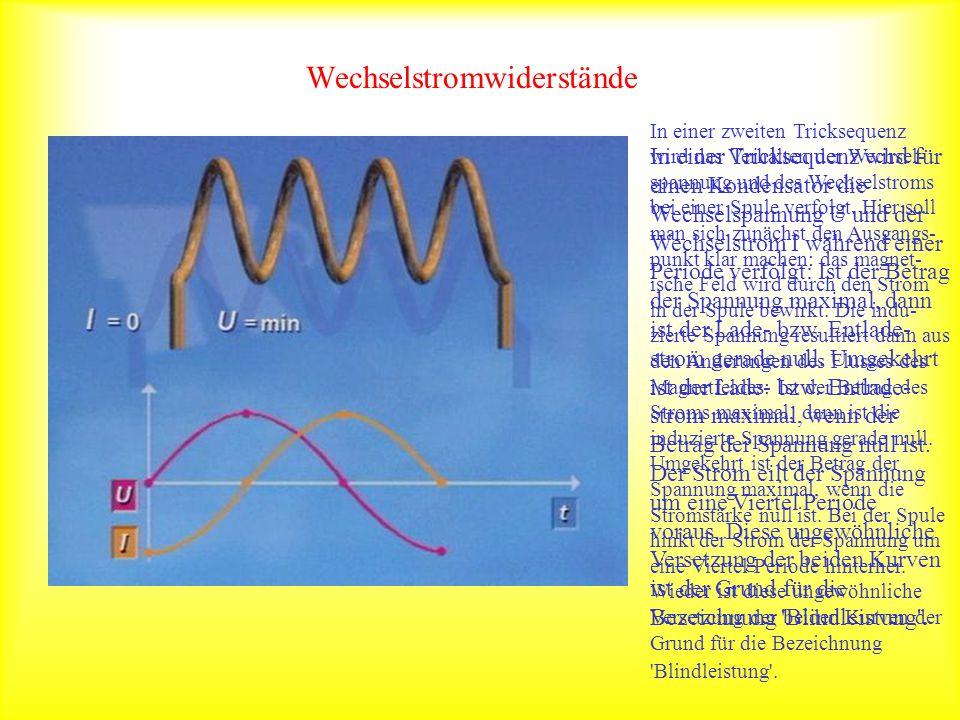 Wechselstromwiderstände In einer Tricksequenz wird für einen Kondensator die Wechselspannung U und der Wechselstrom I während einer Periode verfolgt: