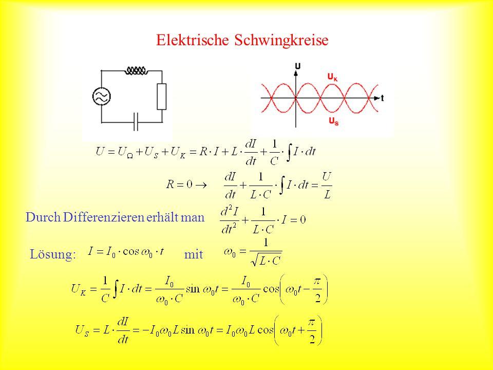 Elektrische Schwingkreise Durch Differenzieren erhält man Lösung: mit