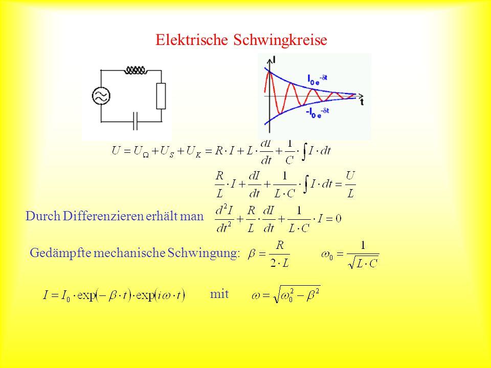 Elektrische Schwingkreise Durch Differenzieren erhält man Gedämpfte mechanische Schwingung: mit
