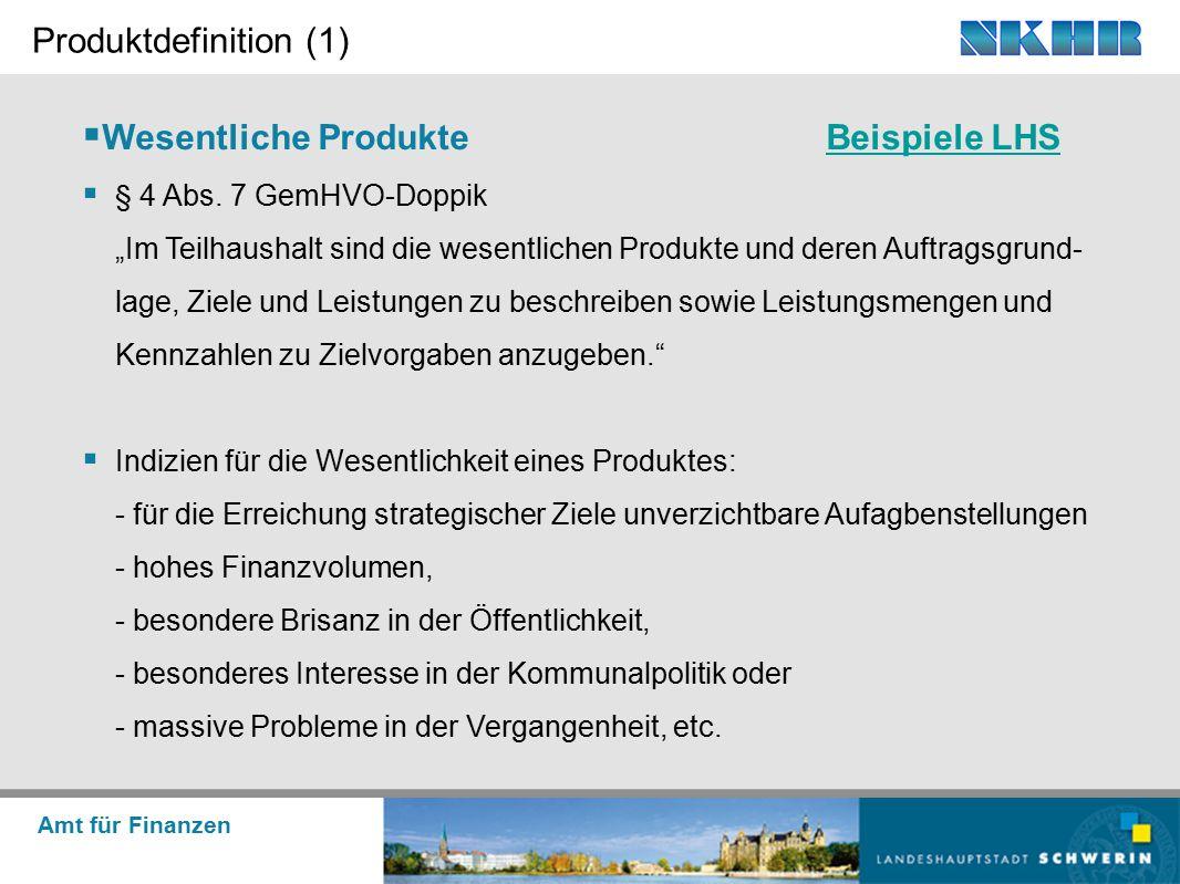 """Amt für Finanzen Produktdefinition (1)  Wesentliche ProdukteBeispiele LHSBeispiele LHS  § 4 Abs. 7 GemHVO-Doppik """"Im Teilhaushalt sind die wesentlic"""