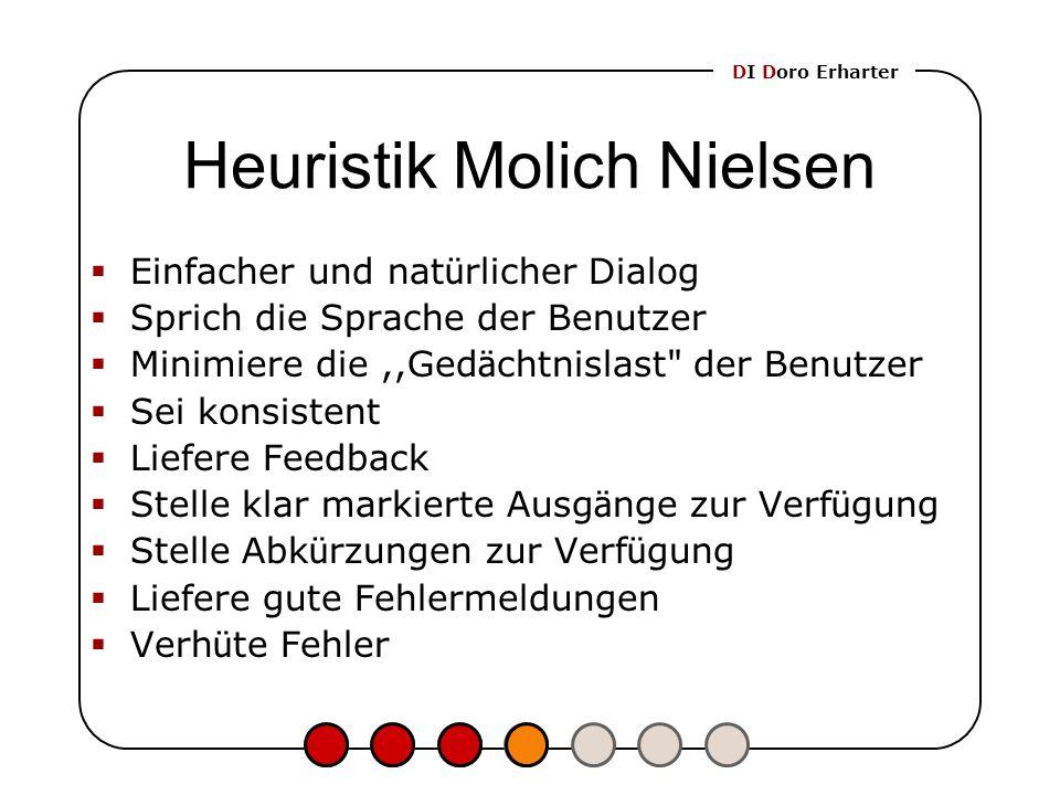 Heuristik Molich Nielsen  Einfacher und nat ü rlicher Dialog  Sprich die Sprache der Benutzer  Minimiere die,,Ged ä chtnislast