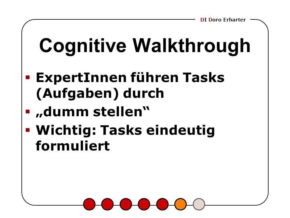 """DI Doro Erharter Cognitive Walkthrough  ExpertInnen führen Tasks (Aufgaben) durch  """"dumm stellen""""  Wichtig: Tasks eindeutig formuliert"""