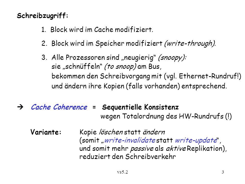"""vs5.23 Schreibzugriff: 1. Block wird im Cache modifiziert. 2. Block wird im Speicher modifiziert (write-through). 3. Alle Prozessoren sind """"neugierig"""""""
