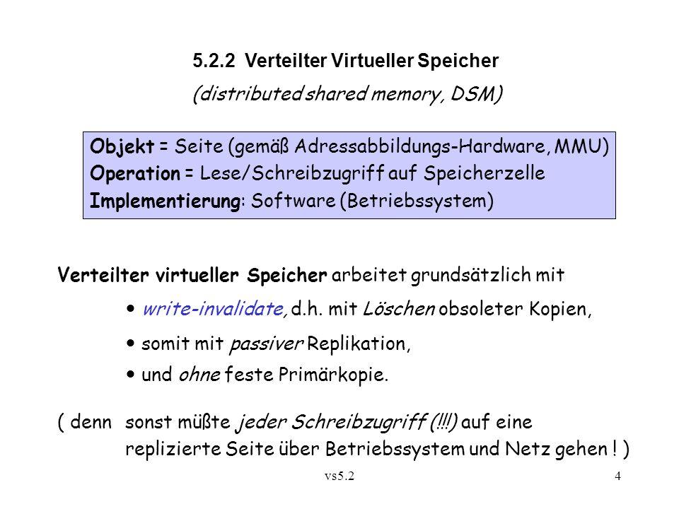 vs5.24 5.2.2 Verteilter Virtueller Speicher (distributed shared memory, DSM) Verteilter virtueller Speicher arbeitet grundsätzlich mit write-invalidate, d.h.