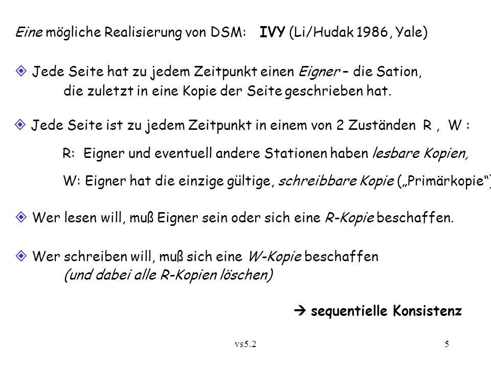 vs5.25 Eine mögliche Realisierung von DSM: IVY (Li/Hudak 1986, Yale)  Jede Seite hat zu jedem Zeitpunkt einen Eigner – die Sation, die zuletzt in ein