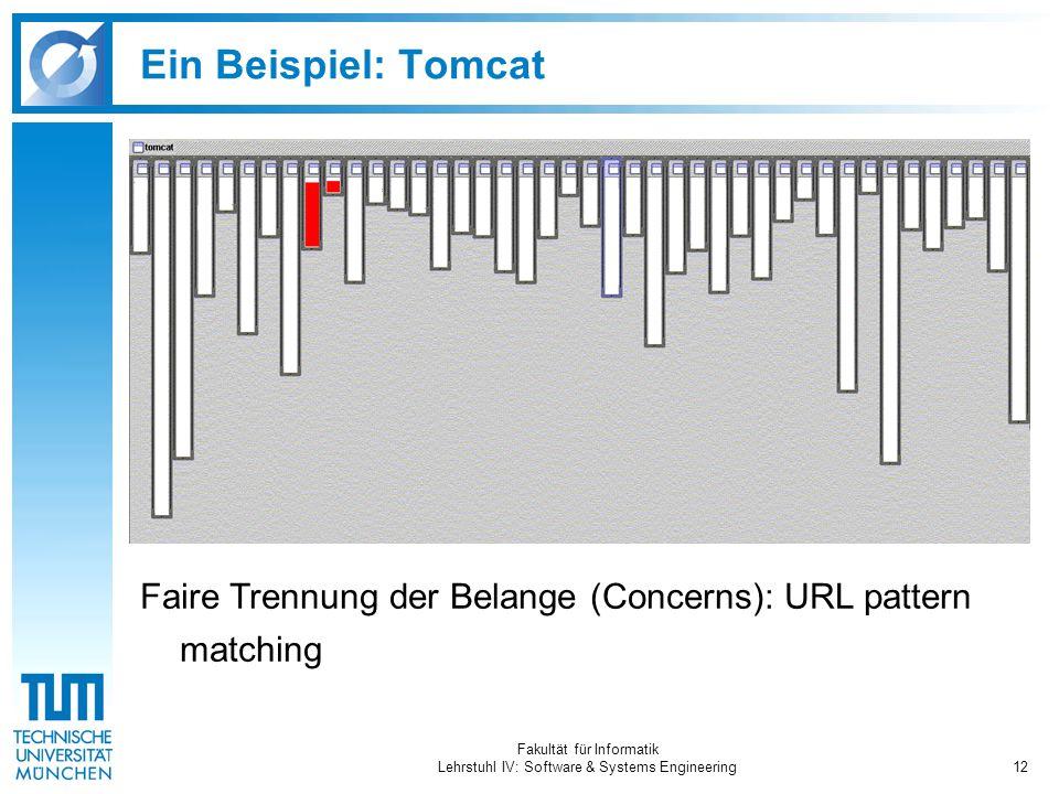 Fakultät für Informatik Lehrstuhl IV: Software & Systems Engineering12 Ein Beispiel: Tomcat Faire Trennung der Belange (Concerns): URL pattern matchin