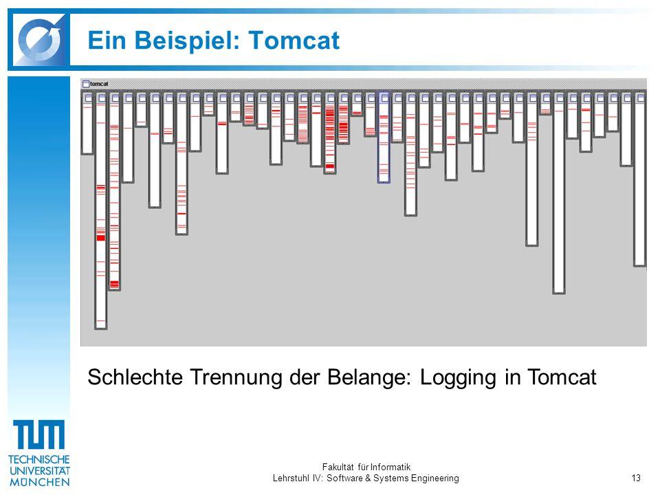 Fakultät für Informatik Lehrstuhl IV: Software & Systems Engineering13 Ein Beispiel: Tomcat Schlechte Trennung der Belange: Logging in Tomcat