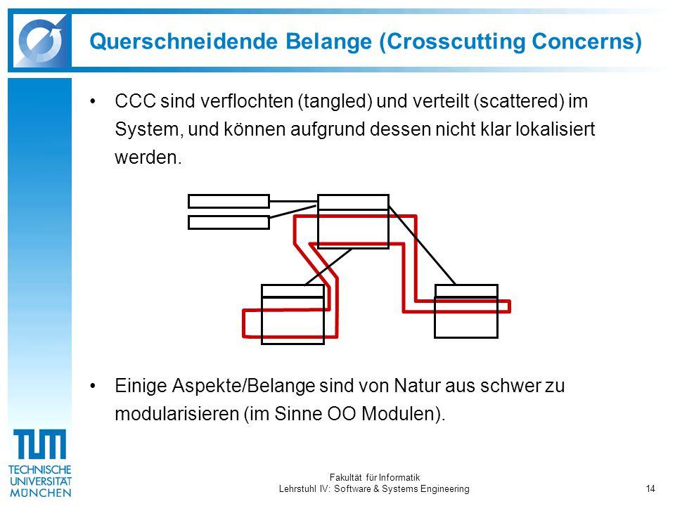 Fakultät für Informatik Lehrstuhl IV: Software & Systems Engineering14 Querschneidende Belange (Crosscutting Concerns) CCC sind verflochten (tangled) und verteilt (scattered) im System, und können aufgrund dessen nicht klar lokalisiert werden.