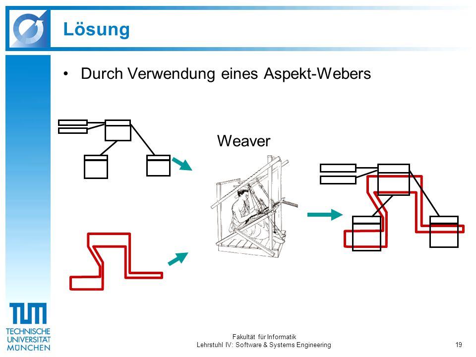 Fakultät für Informatik Lehrstuhl IV: Software & Systems Engineering19 Lösung Durch Verwendung eines Aspekt-Webers Weaver