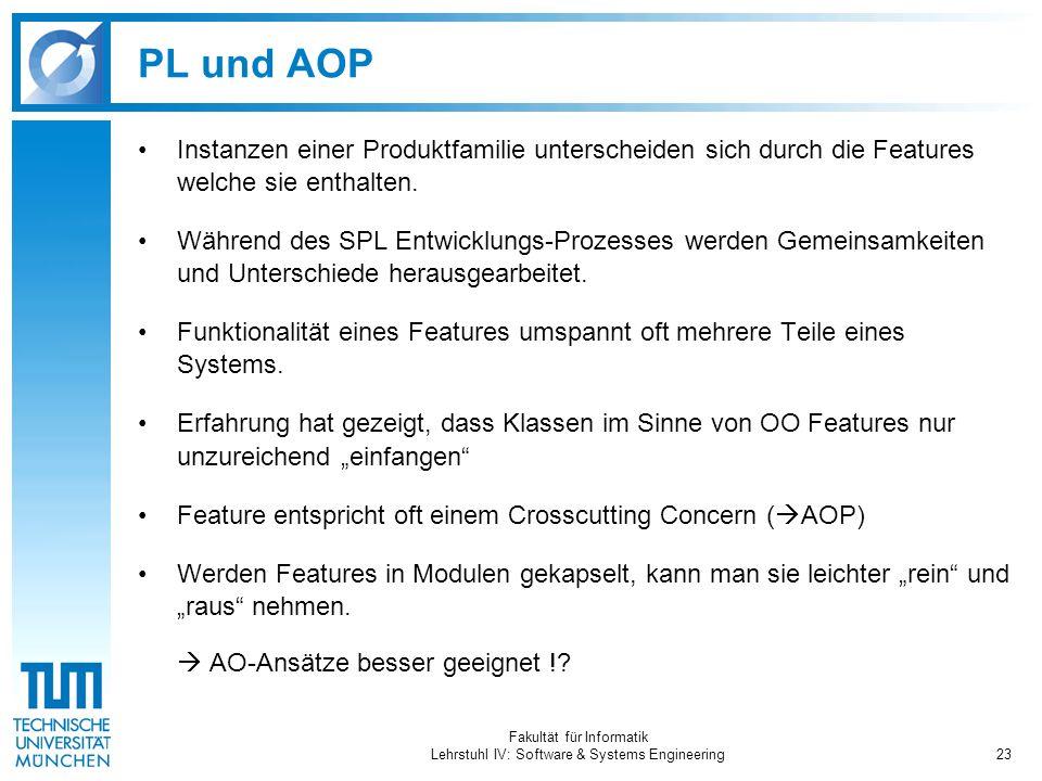 Fakultät für Informatik Lehrstuhl IV: Software & Systems Engineering23 PL und AOP Instanzen einer Produktfamilie unterscheiden sich durch die Features