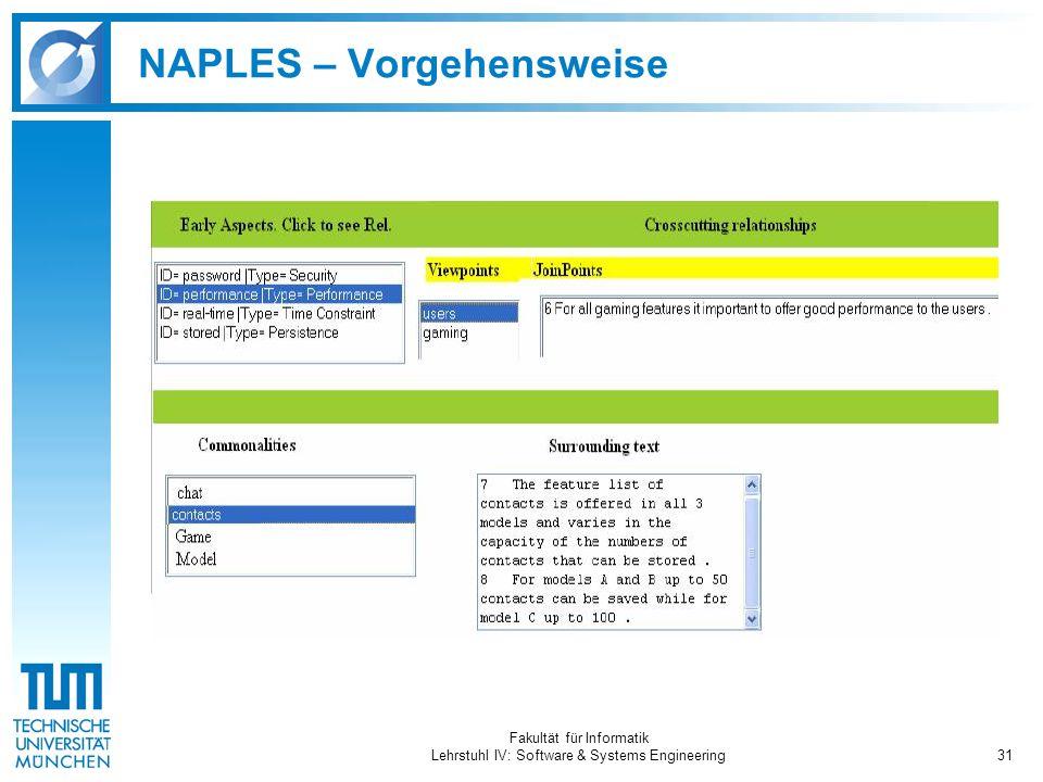 Fakultät für Informatik Lehrstuhl IV: Software & Systems Engineering31 NAPLES – Vorgehensweise
