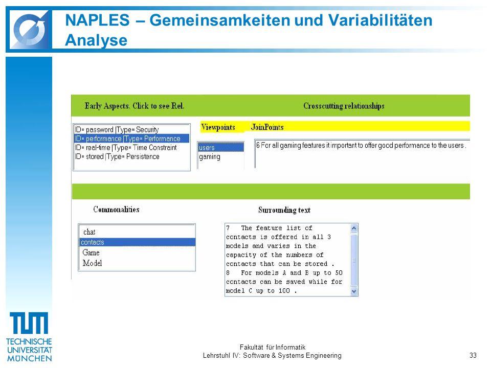 Fakultät für Informatik Lehrstuhl IV: Software & Systems Engineering33 NAPLES – Gemeinsamkeiten und Variabilitäten Analyse