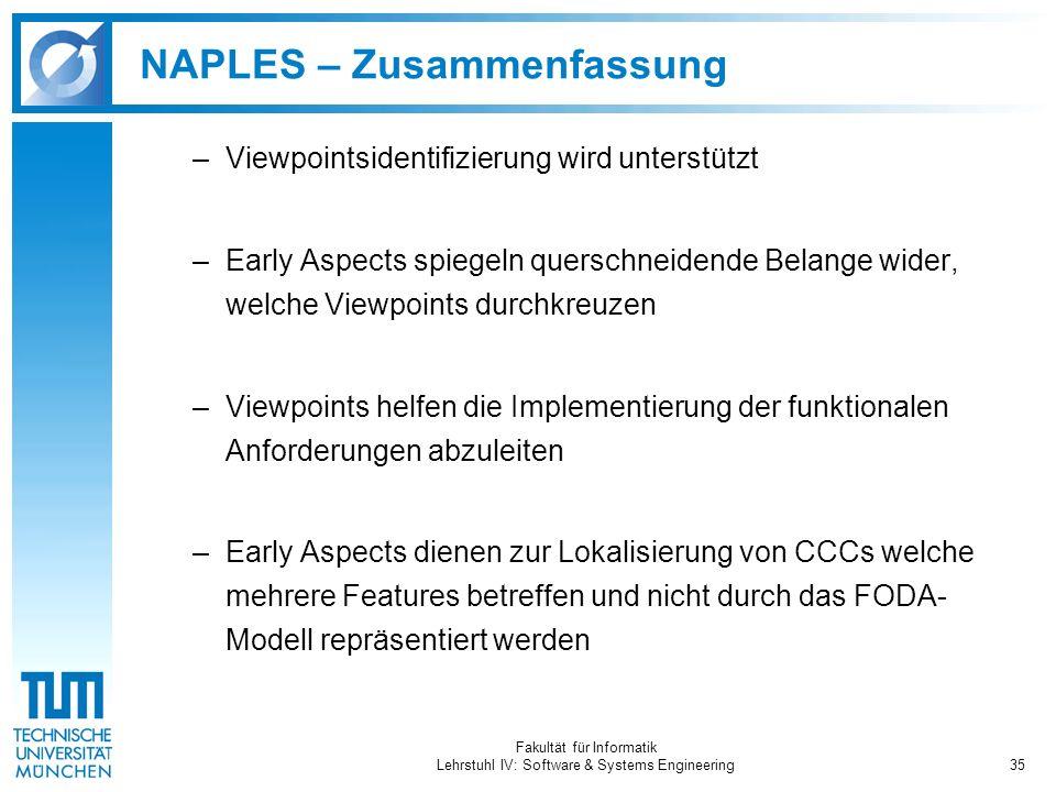 Fakultät für Informatik Lehrstuhl IV: Software & Systems Engineering35 NAPLES – Zusammenfassung –Viewpointsidentifizierung wird unterstützt –Early Asp