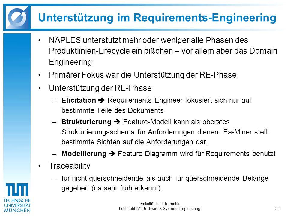 Fakultät für Informatik Lehrstuhl IV: Software & Systems Engineering38 Unterstützung im Requirements-Engineering NAPLES unterstützt mehr oder weniger